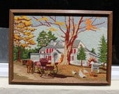 VINTAGE embroidered Autumn scene, horse and buggy, The Fairfield Inn, wood frame, bed and breakfast.