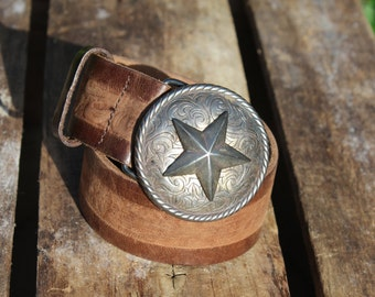 Vintage Saks Fifth Avenue Western leather belt with silver star buckle  - rustic, bohemian, patriotic
