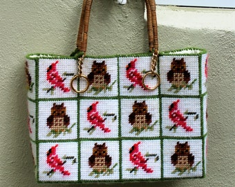 VINTAGE Handmade Needlepoint owl and cardinal handbag. Kitschy cute.