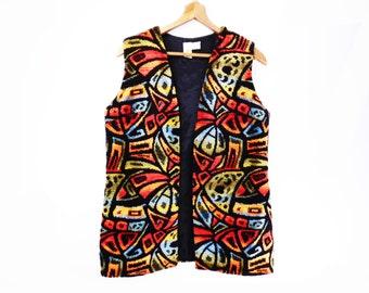 70's vintage MOD tapestry vest // stained glass chenille // long hippie vest // M L