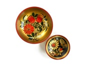 russian painted wooden bowls gold red and black folk design floral decoration bowl small pair