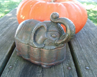Vintage Elephant Sculpted Container