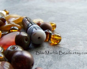 Autumn Beads, Glass Bead Mix-Czech Glass Beads-Pressed Glass-Amber Beads-Amber Glass-Earth Tones-Etched Beads-Matte Beads-Boho Beads-1 Ounce
