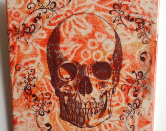 "Colorful Skull   6""x6"" ceramic tile."