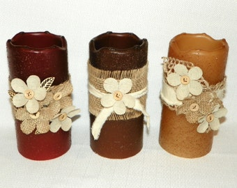 LED Candle with Burlap Flowers and Ribbon on a Textured 6 Inch Primitive TIMER PILLAR Candles, Battery Operated, Window Lights, Night Light