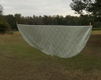 Vintage Sage Green Tablecloth 56 X 70 Oval Tablecloth Picnic Cloth Table  Cover Spring Wedding Decorations