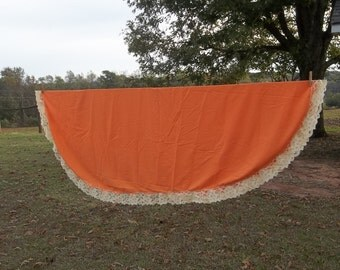 Vintage Lace Tablecloth 66 x 84 Orange Tablecloth Lace Trimmed Tablecloth Thanksgiving Fall Table Cover French Country Oval Tablecloth