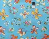 Dena Designs PWDF183 Tiddlywinks Butterflies Blue Cotton Fabric 1 5/8 Yard
