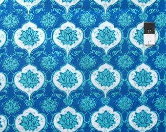 Snow Leopard Iznik PWSL014 Kubachi Persian Cotton Fabric By The Yard