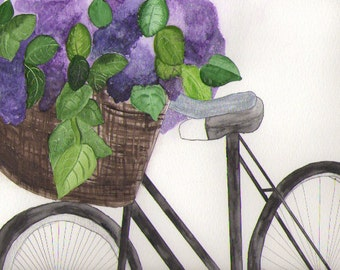 Sunday Bike Ride Original Watercolor painting 9x12
