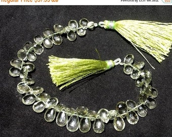 55% OFF SALE Full 8 Inches - Finest Quality Green Amethyst Faceted Pear Briolettes Size 8x5 - 11x7mm Approx