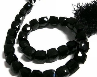 55% OFF SALE 1/2 Strand  AAA Black Onyx Faceted Cube Beads Size 8mm Approx 3D Cubes,
