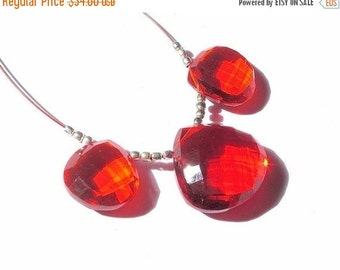 55% OFF SALE New Arrival - 3Pc Set of AAA Burnt Orange Quartz Faceted Heart Briolettes 15x15mm - 20x20mm approx