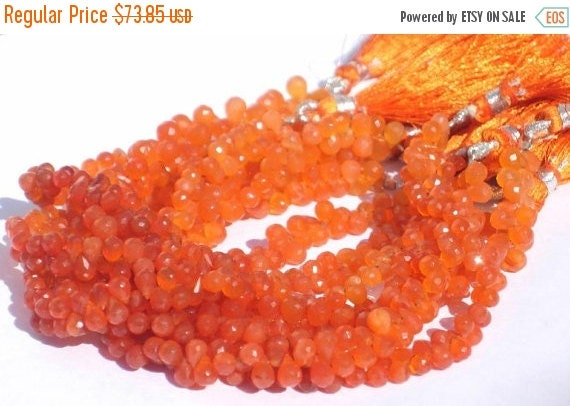 55% Sale Full 8 Inches Genuine Carnelian Micro Faceted Tear Drop Briolettes Size 6x4mm approx Finest Quality Wholesale Price