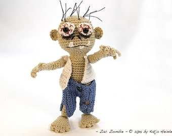 amigurumi PDF crochet pattern Grusel Zombie Katja Heinlein, tutorial fantasy, monster, ebook halloween deco