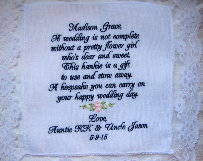 Flower girl gift personalized wedding handkerchief, hankie, hanky