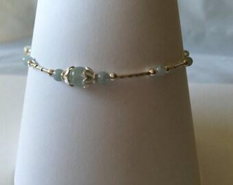 Sterling Silver Aquamarine Anklet