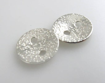 Sterling Silver Buttons, 1/2 Inch, 13mm, Textured, Hammered, Polished QTY 2