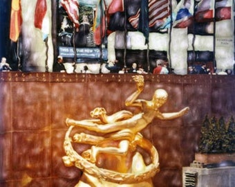 Rockefeller Center  - Polaroid SX-70 Manipulation - 8x8 Fine Art Photograph, Wall Decor