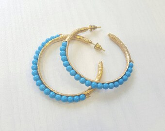 Large Turquoise Hammered Gold Hoops