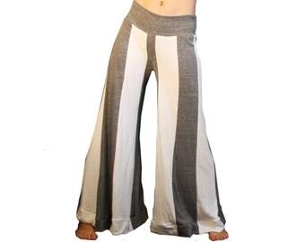 Striped Circus Pants - Festival, Performance, Yoga, Dance,  Gray White Cotton Lounge Pants