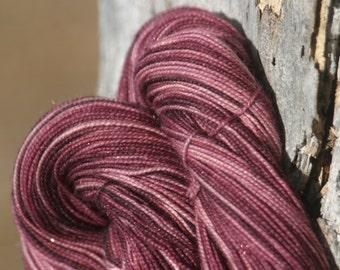 Handpainted Glimmer Sock Yarn - Superwash Merino Wool, Nylon, Gold Stellina - Enclave