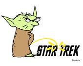 Star Wars Yoda Star Trek cartoon print to show the world who's the boss of the galaxy