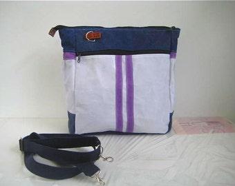 Waxed Canvas Purse/Messenger/Backpack/HandBag White/Blue/Lilac Leather