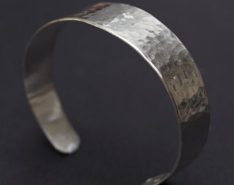 Sterling Silver Bangle, Hammered Sterling Silver Cuff Bracelet, Silver Bracelet, Hammered Silver Bracelet, Cuff Bracelet for Man or Woman