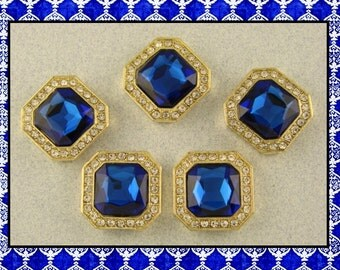 2 Hole Beads Sapphire Blue Square Glass Facets & Clear Swarovski Crystal Elements ~ Sliders QTY 5     (SKU 466179976)