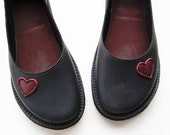 Womens leather shoes, EDITH Lovehearts, Handmade Whimsical Shoes by Fairysteps in Black, Berry, any colour