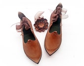 Woodland Witch, PRICKLE, Handmade Leather Pointy Shoes by Fairysteps in any colour