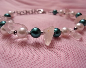 Natural Quartz, Glass Pearls in Teal and White. FUNDRAISER!