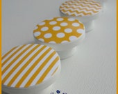 Chevron Dresser Knobs • Drawer Knobs • Sunshine Yellow • Drawer Pulls • Chevron • Stripes • Polka Dots • Gingham • Kids Knobs