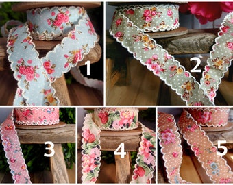 "1"" Vintage Floral Ribbon with Scalloped Edge - 6 yards- Choose"