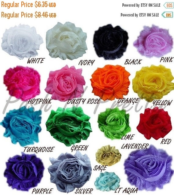 30% OFF SALE 25 Percent Off Sale 48 PCS Shabby Solid chiffon flowers - 2.50 inches- Pick Colors