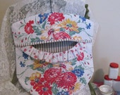 Laundry Day Clothes Pin Bag - Red Blue Yellow Floral - Repurposed Vintage Tablecloth and Wood Hanger - Shabby Cottage
