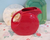 Vintage Red Fiesta Ware Pitcher - Large Disc Style - Vintage Homer Laughlin - Shabby Summer Cottage