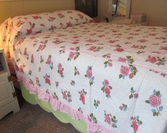 Vintage NOS Cotton Seersucker Bedspread Full - Pink Piping and Ruffles, Pink Cabbage Roses - Shabby Summer Cottage Jeanne d' Arc Boudoir
