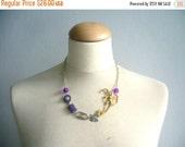 Brass purple flower necklace