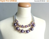 statement necklace, purple silver gold necklace, rope necklace