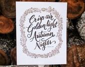 Crisp Air, Golden Light, Autumn Nights - 8x10 wall art - Gold and Copper Fall / Autumn Quote