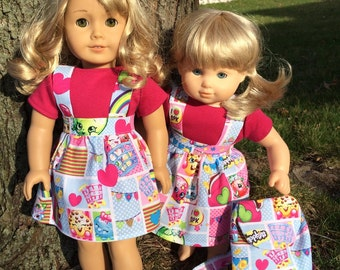 """Shopkins Dress and Backpack Outfit for 15"""" & 18"""" Dolls like American Girl Doll"""