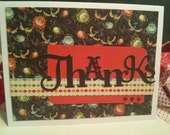 Thanks Card Thank you Greeting Card Appreciation Note Card Black Red