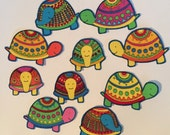 Colorful Tiny Turtles - Iron On Fabric Appliques