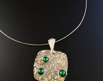 Dichroic Glass and Fine Silver Pendant