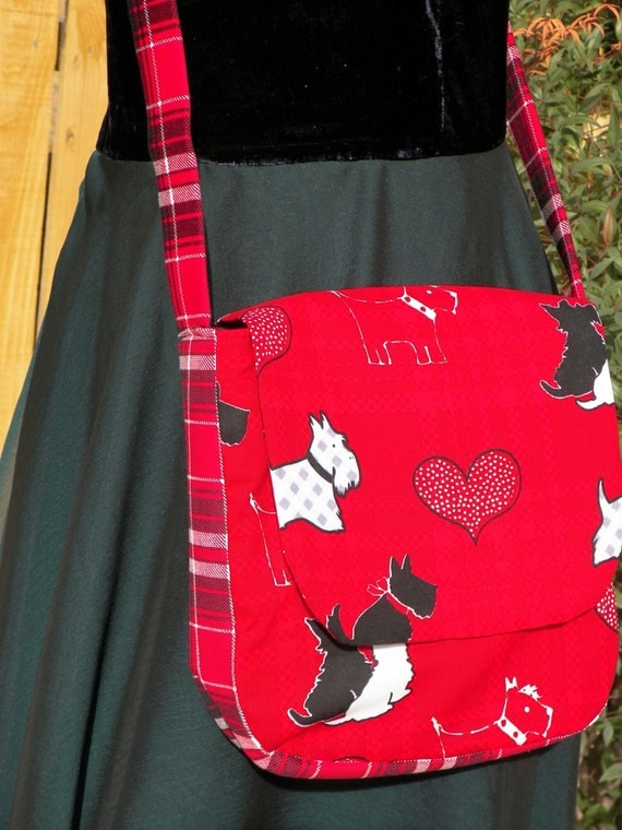 Scottie Dogs and Red Plaid Saddlebag Soft Shoulder Strap