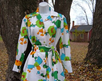 70s S Graphic Op Art Print Shirt Dress with Belt Geometric Colorful Vintage 1970s