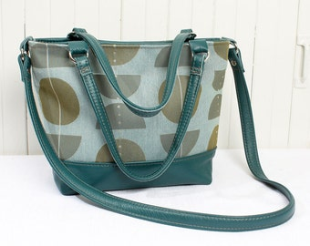 Top Handle Bag in Teal Blue and Saddle Tan Top Grain Leather Handbag Satchel Purse with Modern Geometric Print