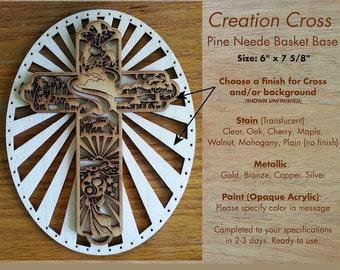 Pine Needle Basket Center Wood Base - Creation Cross - Choose Natural or Finished